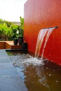 red tiled water feature