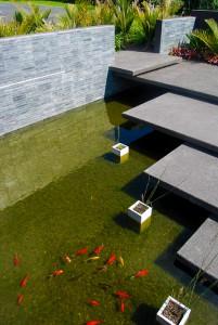 floating concret slabs above fish pond