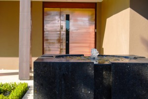 black polished concrete water feature