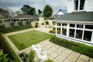 stone paving and lawn landscaping