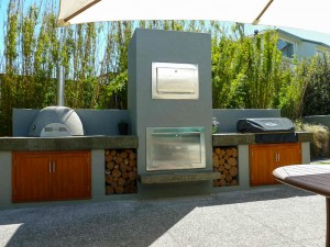 outdoor fire, smoker and pizza oven.