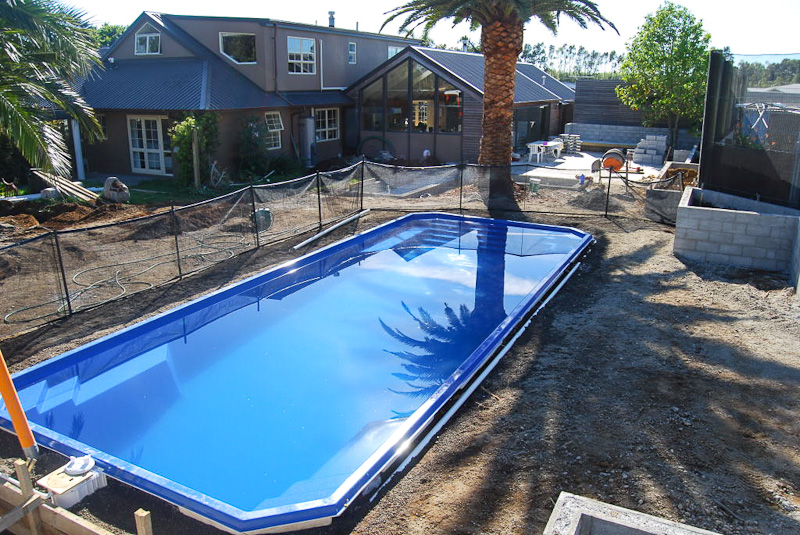 pool during landscaping construction